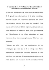 declaration de m ali benflis sur le conseil ministeriel restreint sur la crise petroliere mondiale