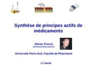 synthese de principes actifs de medicaments pr provot