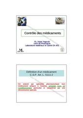controle physicochimique des medicaments 2012 2013 yagoubi