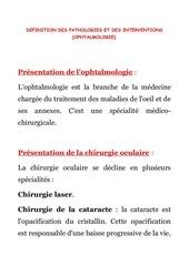 3 oph definition des pathologies et interventions