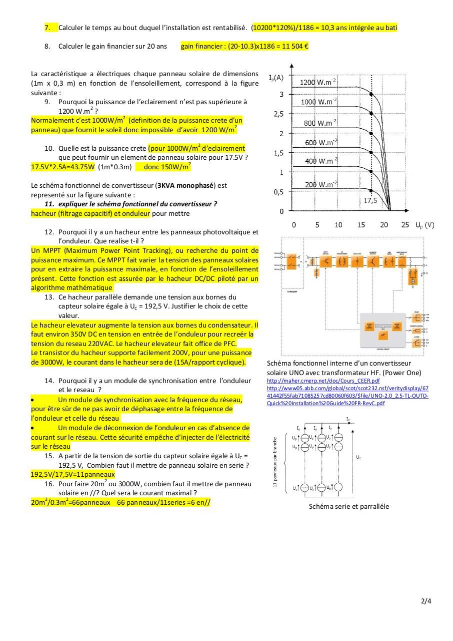 Puissance Panneau Photovoltaique tout exercice photovoltaique iut aisne sivert - fichier pdf