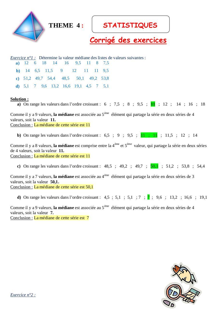 Thème 4 Statistiques corrigé .doc par RENCIEN - exercices corriges statistique descriptive s1 ...