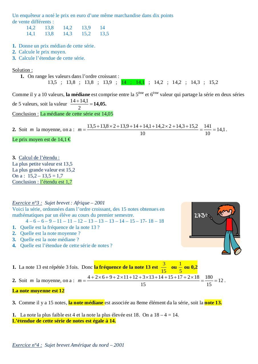 Thème 4 Statistiques corrigé .doc par RENCIEN - exercices ...