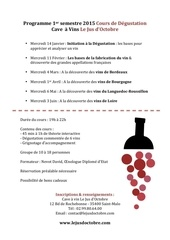 programme 1er semestre 2015 cours de degustation