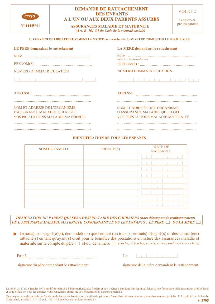 formulaire de rattachement 3705