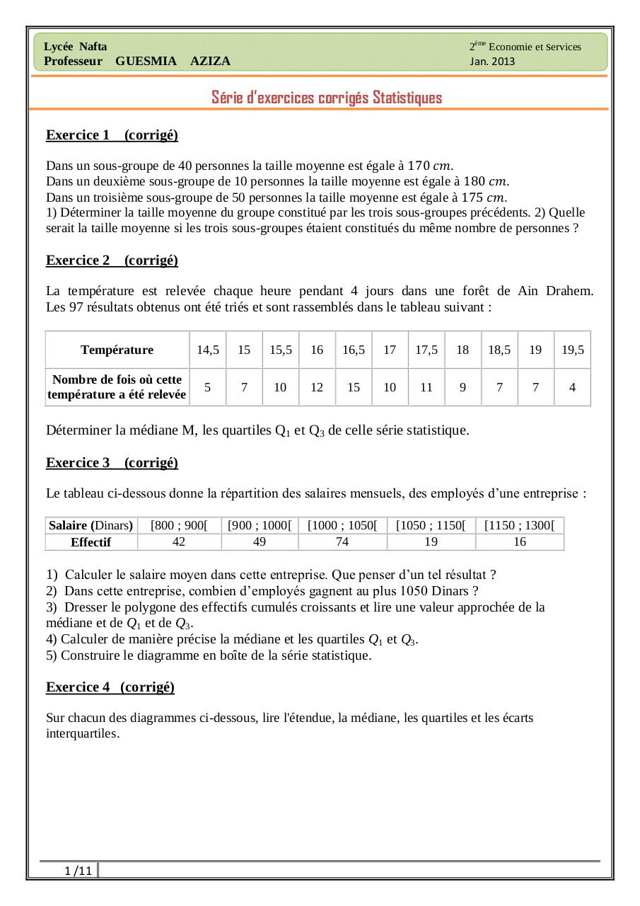 serie d exercices corriges de statistique descriptive s1