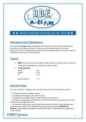 dossier inscription voyage au ski 2015