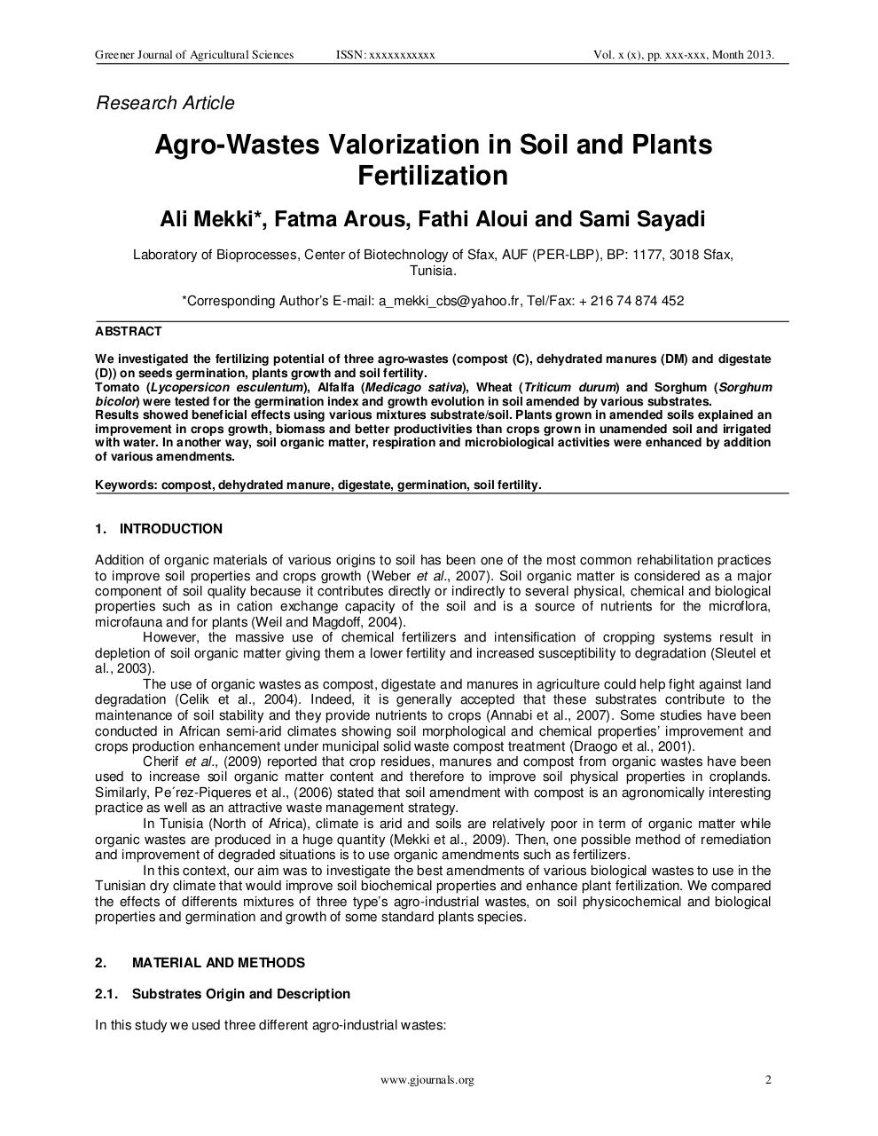 Agro-Wastes Valorization in Soil and Plants Fertilization..pdf - page 2/12
