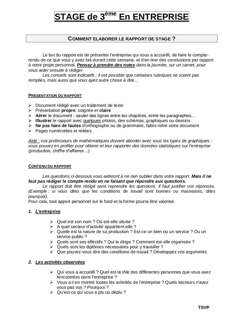 Stage En Entreprise 4ème Par Xavier Hill Consignes