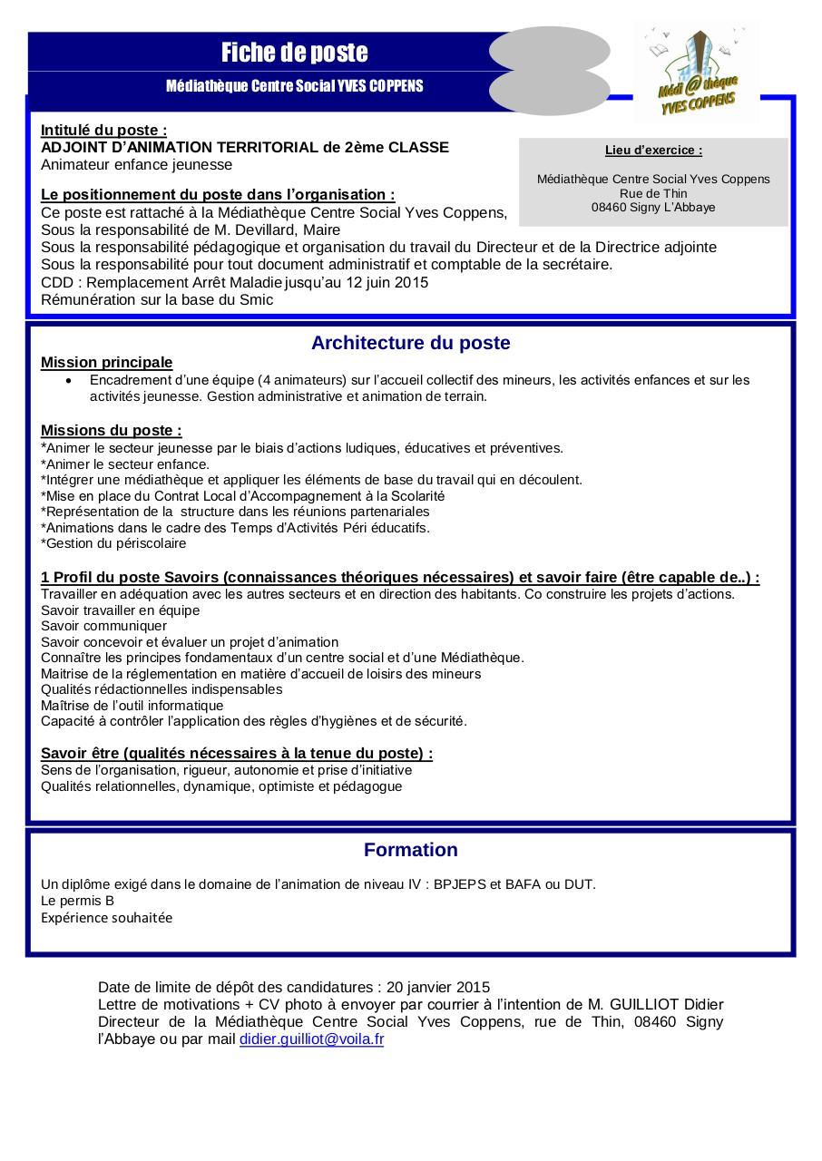 cadre d u2019une fiche de poste type par rectorat