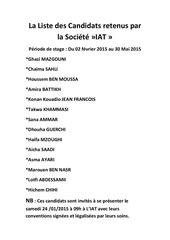 la liste des candidats retenus par la societe iat