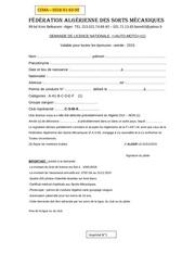 Fichier PDF demande de licence fasm2015
