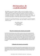 declaration de confidentialite img models paris