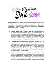 8 choses qu il faut savoir sur la danse