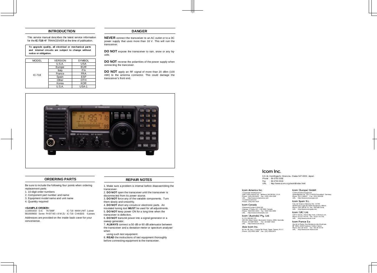 IC 718 par Icom Inc  - Icom IC 718 service manual pdf - Fichier PDF