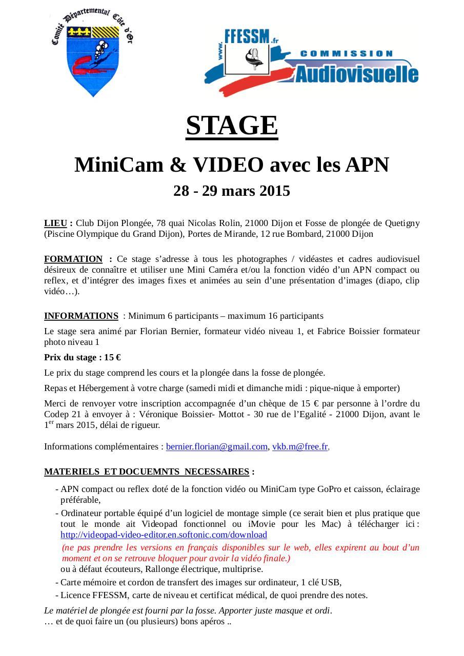 2015 03 28 Fiche Stage Video Dijon Par Myriam Infos Et