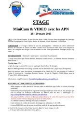 infos et fiche inscription stage camera video dijon mars 2015