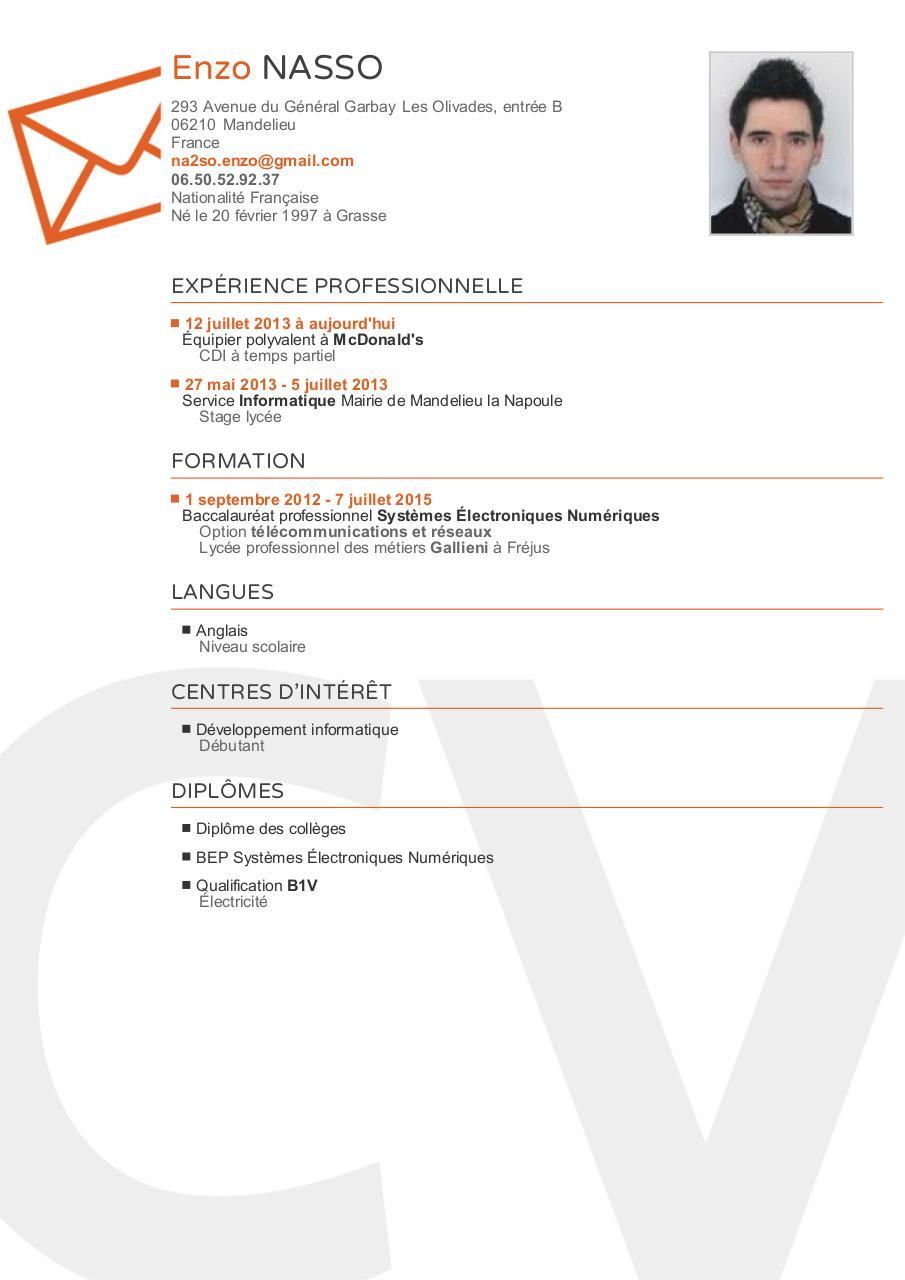 nouveau cv enzo pdf par primocv com