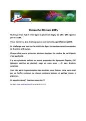 challenge 29 mars