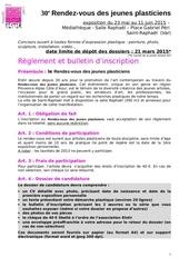 dossier candidature 30e rdv2015