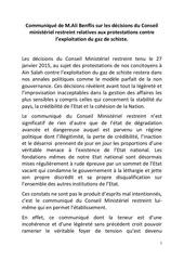 communique de m ali benflis sur les decisions du conseil ministeriel restreint relatives aux protestations contre l exploitation du gaz de schiste