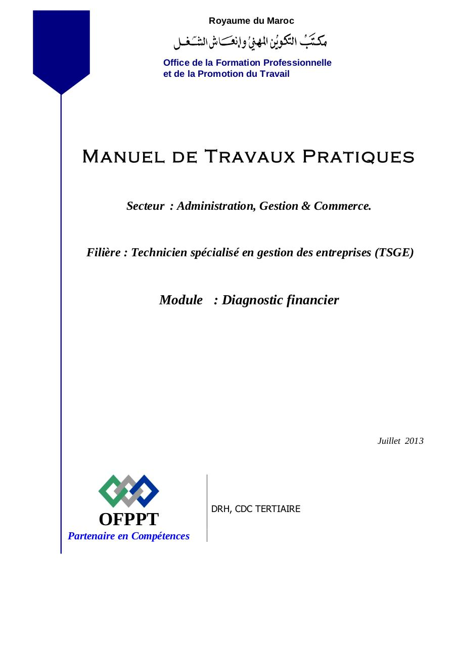 diagnostic financier pdf ofppt