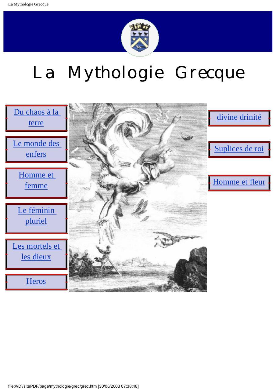 La Mythologie Grecque Mythologiegrecque Pdf Fichier Pdf