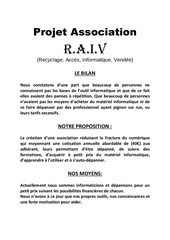 projet association raiv