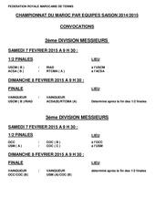 convocation championnat du maroc 7 8 fevrier 2015