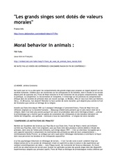 les grands singes sont dotes de valeurs morales