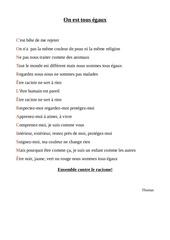 poesie thomas contre le racisme