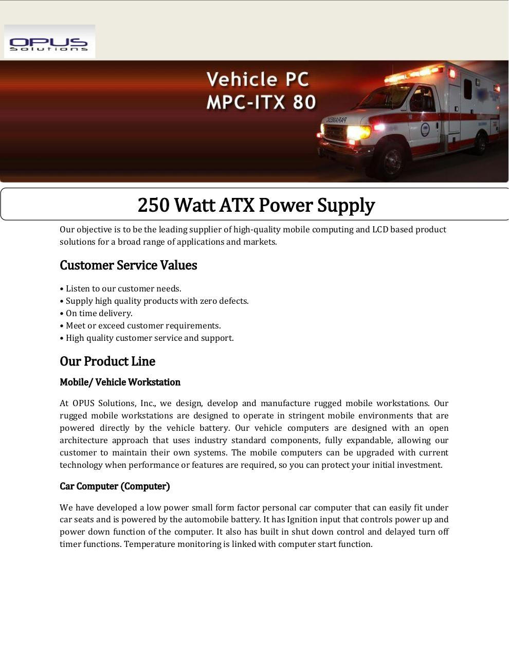 250 Watt Atx Power Supply Par Ct 108 Fichier Pdf At Form Factor Supplypdf Page 1 3