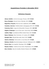 acquisitions octobre decembre 2014