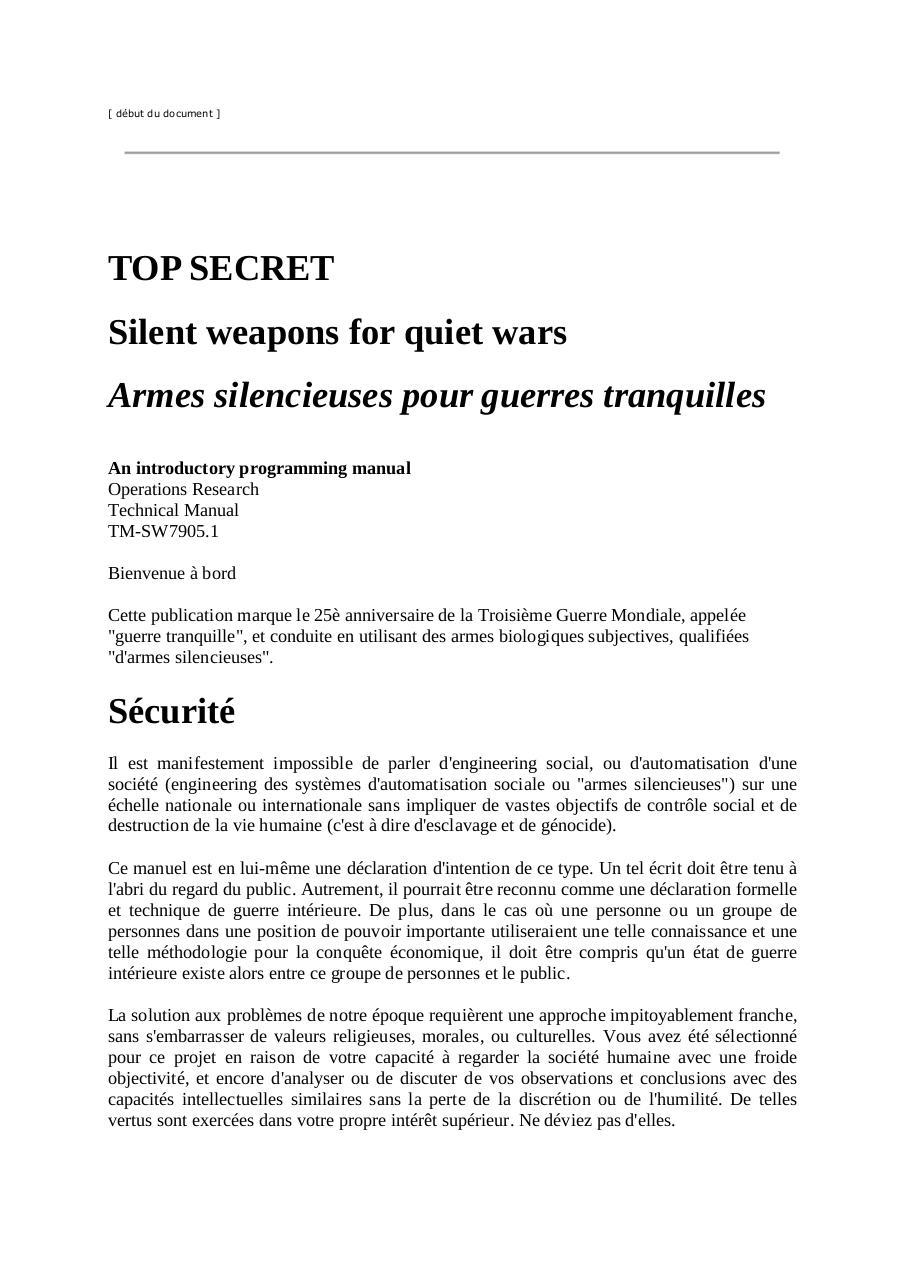 armes silencieuses pour guerres tranquilles pdf