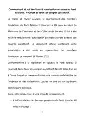 communique m ali benflis sur l autorisation accordee au parti talaiou el houriyet de tenir son congres constitutif