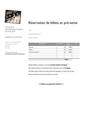 reservation billets