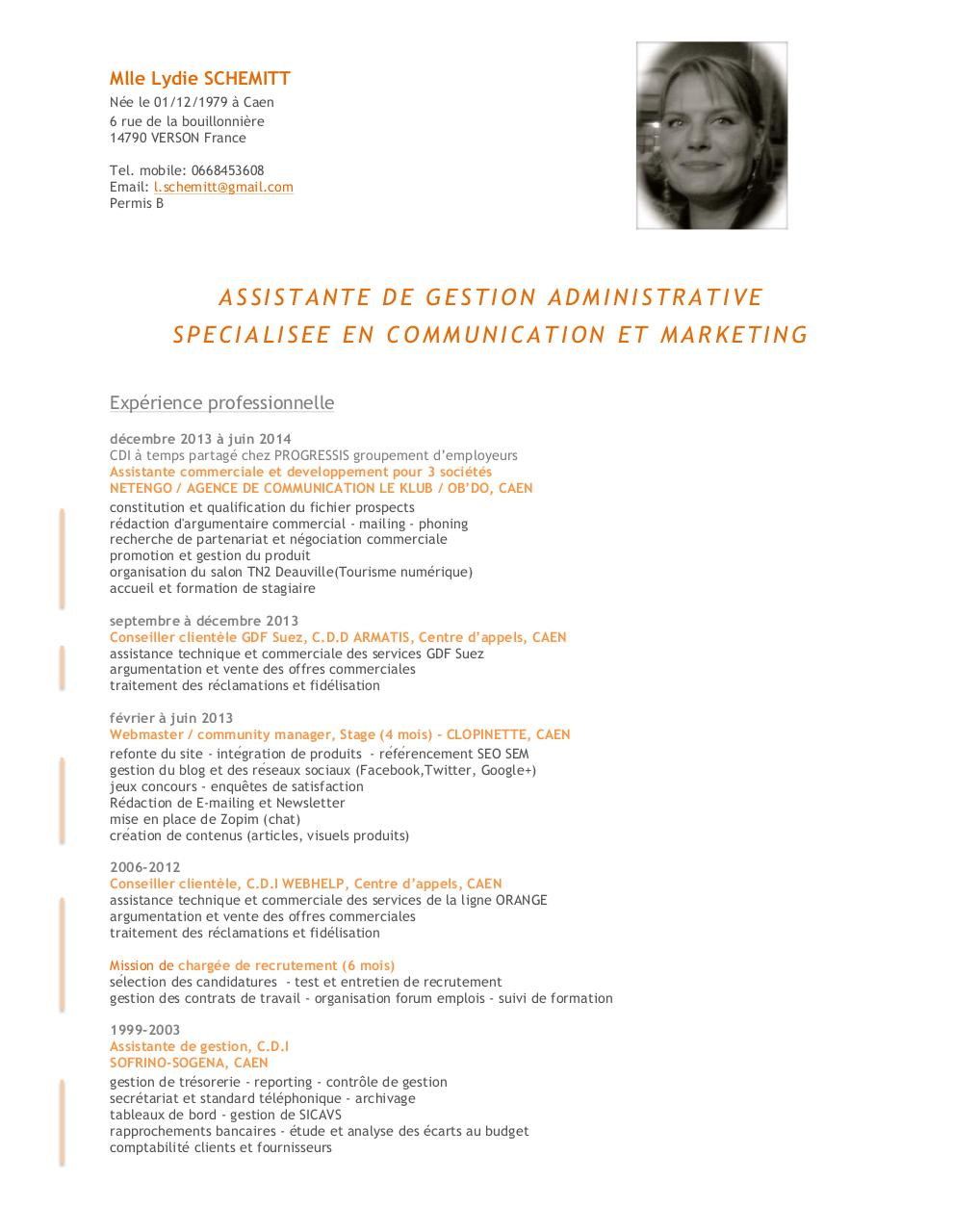 cv assistante gestion communication web marketing caen  cv