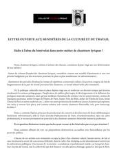 ccl lettre ouverte aux ministeres