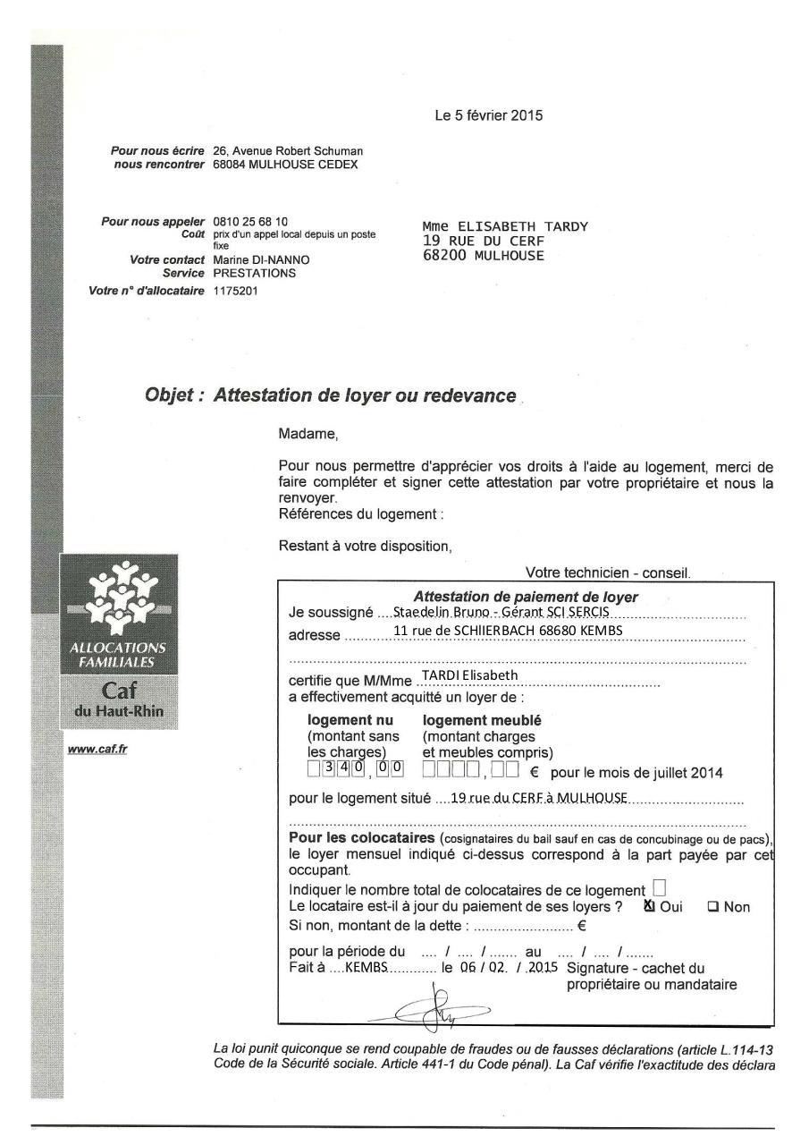 Tardy attestation caf 2015 tardy attestation caf - Caf mulhouse adresse ...