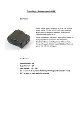 Fichier PDF datasheet power supply usb