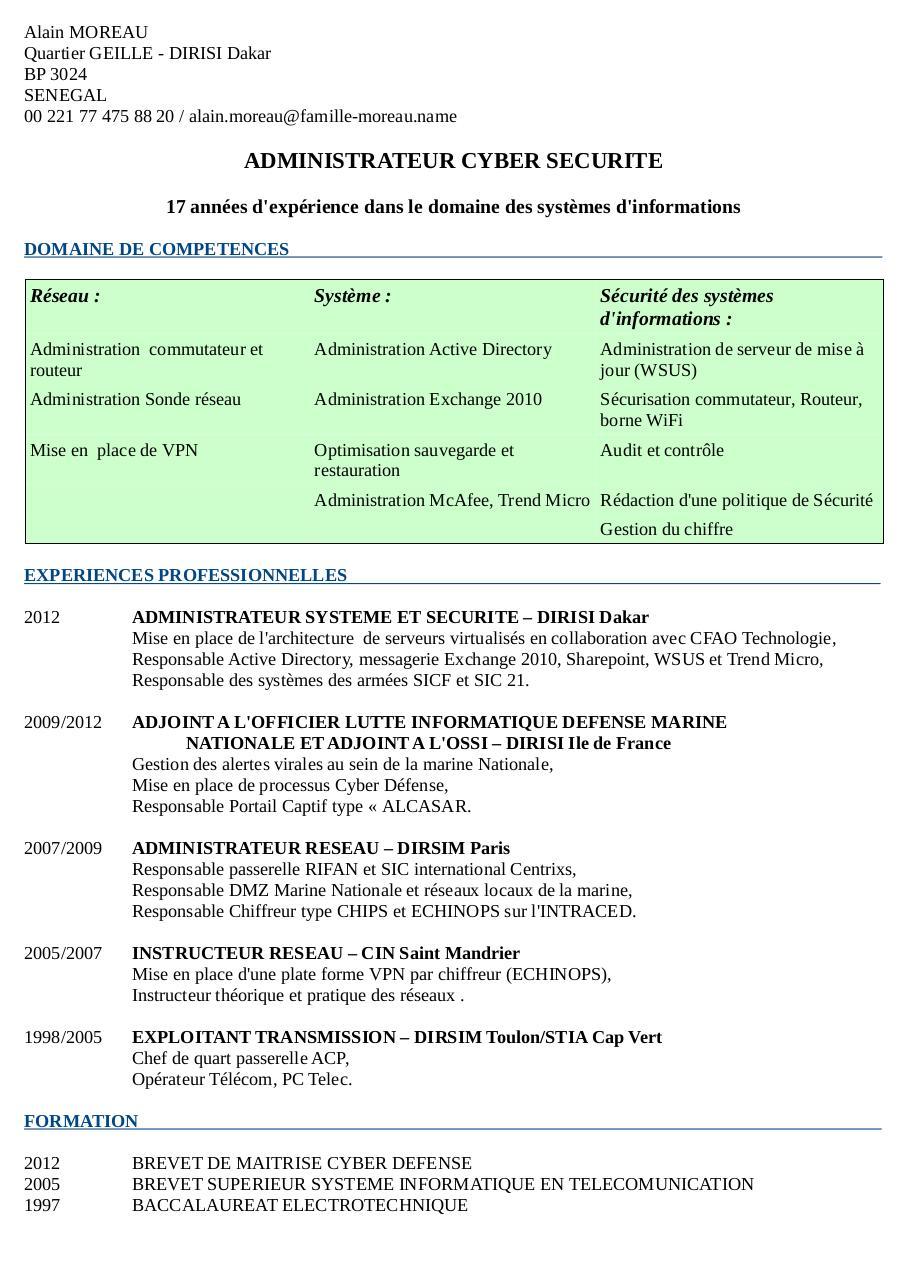 cv comp u00e9tence par alain - page 1  1
