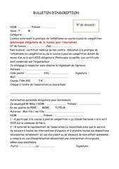 bulletin d inscription adultes
