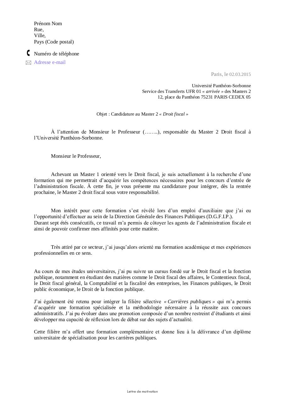 exemple lettre de motivation master 2 finance