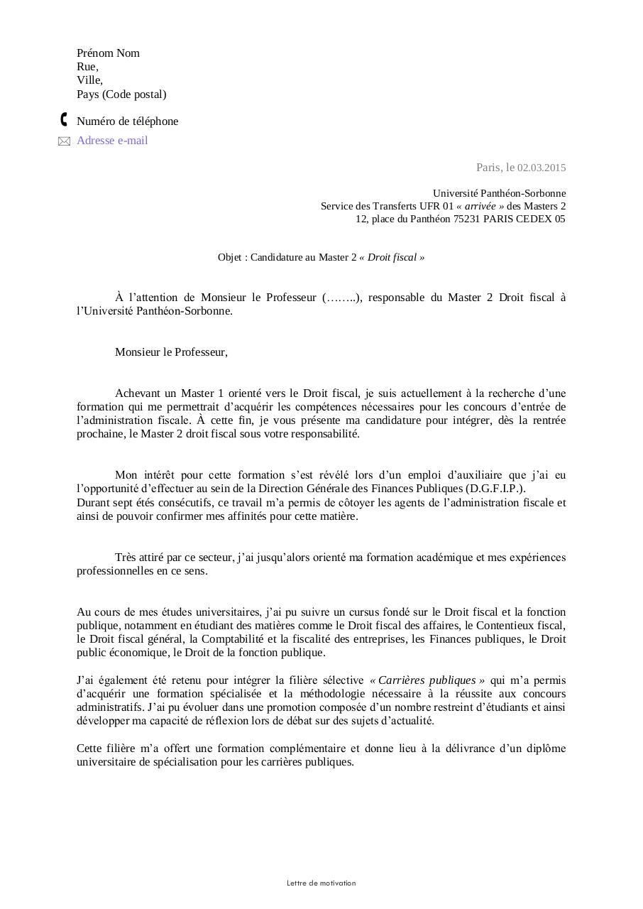 lettre de motivation université droit Lettre de motivation (Masters)   Fichier PDF lettre de motivation université droit