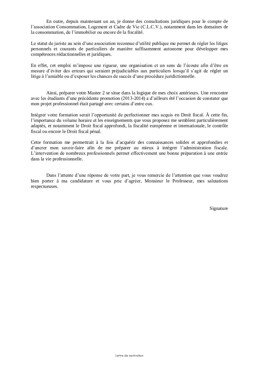 lettre de motivation  masters   lettre de motivation  masters  pdf