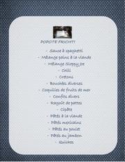 menu pour commande