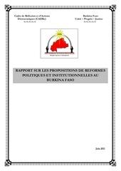 cadre rapport reformes politiques institutionnelles burkina
