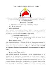 cadre reformes politiques institutionnelle burkina faso