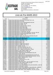 liste de prix mars 2015