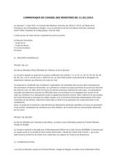 communique du conseil des ministres du 11 mars 2015